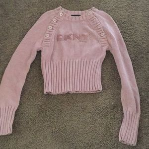 DKNY pink sparkle glitter sweater XS So Cute